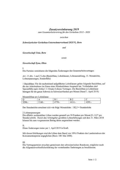 GAV Zusatzvereinbarung Gerüstbau 2019 de