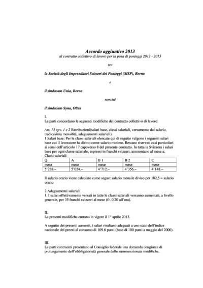 Accordo aggiuntivo 2013