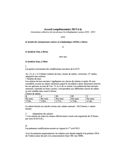 Accord complementaire 2013