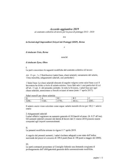 Accordo aggiuntivo 2019